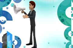 3d character conveying message through  speaker illustration Royalty Free Stock Images