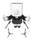 3d business man speaking behind stand mike. 3D Square Man Series Royalty Free Stock Photography