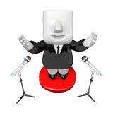 3d business man speaking behind stand mike. 3D Square Man Series Royalty Free Stock Image