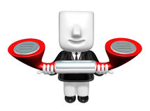 3d business man standing in a circle with their phone. 3D Square Stock Image