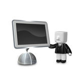 3d business man standing next to big screen. 3D Square Man Serie Stock Images