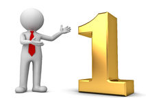 3d business man standing and presenting 3d gold number one Royalty Free Stock Images