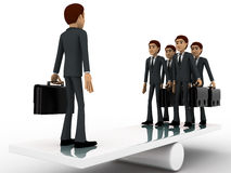 3d business man standing on seasaw to create balance concept Stock Photo