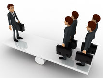 3d business man standing on seasaw to create balance concept Stock Photos
