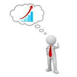 3d business man standing and showing thumbs up like with growth graph chart in thought bubble concept. Over white background. 3D rendering Stock Images