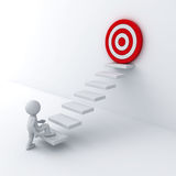 3d business man stepping up to his successful goal on top of the steps. Over white wall background Stock Photography