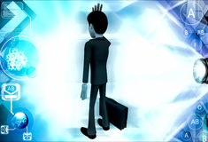 3d business man in stress with briefcase illustration Stock Photography