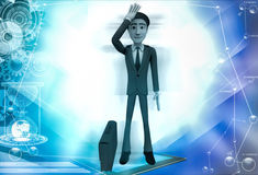 3d business man in stress with briefcase illustration Royalty Free Stock Images
