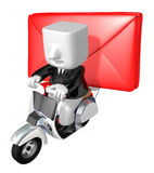 3d business man taking on his red bike. 3D Square Man Series. Royalty Free Stock Photos