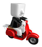 3d business man taking on his red bike. 3D Square Man Series. Royalty Free Stock Images