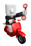 3d business man taking on his red bike. 3D Square Man Series. Stock Photo