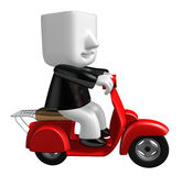 3d business man taking on his red bike. 3D Square Man Series. Royalty Free Stock Photography