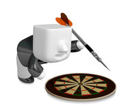 3D Business man with a target and arrows. 3D Square Man Series. Stock Images
