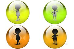 3D business Man thinking concept icon Stock Images