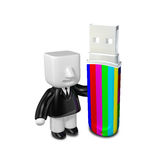 3d business man on usb memory stick. 3D Square Man Series. Royalty Free Stock Photography