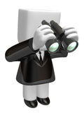3d business man watching with his black. 3D Square Man Series. Royalty Free Stock Image