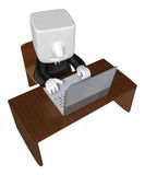 3d business man working with his laptop. 3D Square Man Series. Stock Photo