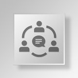 3D Business Meeting icon Business Concept. 3D Symbol Gray Square Business Meeting icon Business Concept Stock Photography