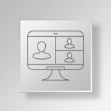 3D Business Meeting icon Business Concept. 3D Symbol Gray Square Business Meeting icon Business Concept Stock Photo