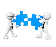 3D Business Men Connecting Jigsaw Pieces Royalty Free Stock Photos
