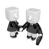 3d business men handshaking each other. 3D Square Man Series. Royalty Free Stock Image
