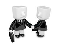 3d business men handshaking each other. 3D Square Man Series. Stock Photos