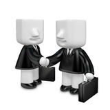 3d business men handshaking each other. 3D Square Man Series. Royalty Free Stock Photography