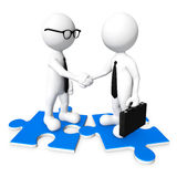 3D business men shaking hands Royalty Free Stock Images