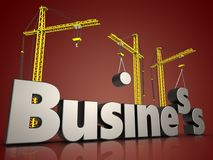 3d business metal over red. 3d illustration of business metal sign with three cranes over red background Stock Image
