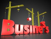 3d business over black. 3d illustration of business sign with three cranes over black background Royalty Free Stock Image