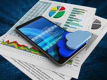 3d business papers. 3d illustration of mobile phone over digital background with business papers and clouds Stock Photos