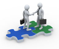 3d business partner on puzzle piece. 3d Illustration of person on puzzle piece shaking hands with his business partner. 3d rendering of human businessman Royalty Free Stock Images