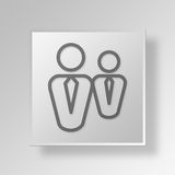 3D business partners icon Business Concept. 3D Symbol Gray Square business partners icon Business Concept Stock Photography