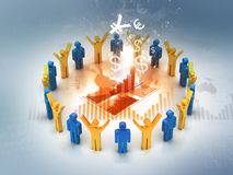 3d Business people analysing chart. Successful business teamwork Stock Photo