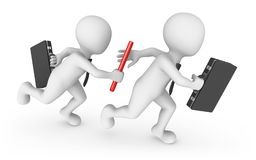 3d business people with baton. Teamwork concept. 3d rendered illustration Stock Image