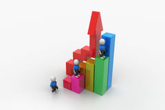 3d business people climbing on bar graph. In white color background Royalty Free Stock Photo