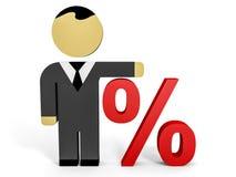 3D business people. Discount. 3D illustration Stock Images