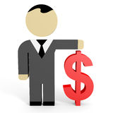 3D business people. Dollar. 3D illustration Royalty Free Stock Photography