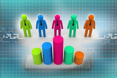 3d business people with graph. On abstract background Royalty Free Stock Photos