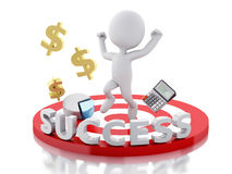 3d business people, happy jumping for the success in red target. Royalty Free Stock Photos