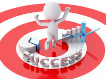 3d business people, happy jumping for the success in red target. Stock Photography