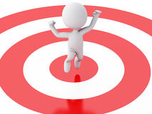 3d business people, happy jumping for the success in red target. Royalty Free Stock Images