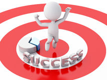 3d business people, happy jumping for the success in red target. Stock Photos