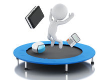 3d business people, happy jumping for the success in trampoline. 3d renderer image. White people, happy jumping for the success in trampoline. Business concept Stock Photo