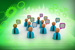 3d business people icon with speech bubbles. In color background Royalty Free Stock Photography