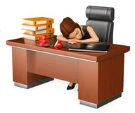 3D Business woman sleeping in her office. Long working day. 3d business people illustration. Businesswoman sleeping in her office. Long working day. White Stock Images