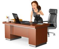 3D Business woman suffering a heart attack in her office. 3d business people illustration. Businesswoman suffering a heart attack in her office.White background Stock Images
