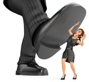 3D Business woman under a giant foot of man. Gender inequality. 3d business people illustration. Businesswoman under a giant foot of man. Abuse of power Stock Photos