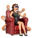 3D Business woman watching a scary movie with virtual reality gl Royalty Free Stock Photography