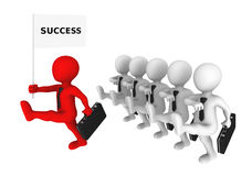 3d business people with red leader marches to success. Royalty Free Stock Photos
